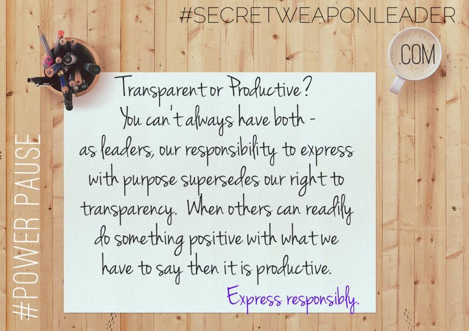 Transparent or Productive