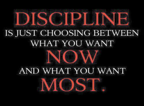 Dicipline choosing between what you want now and what you want most